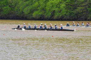 The Girl's Freshman 8 races at the Ted Phoenix state champion ship.  Photo Courtesy of Barney Cohen