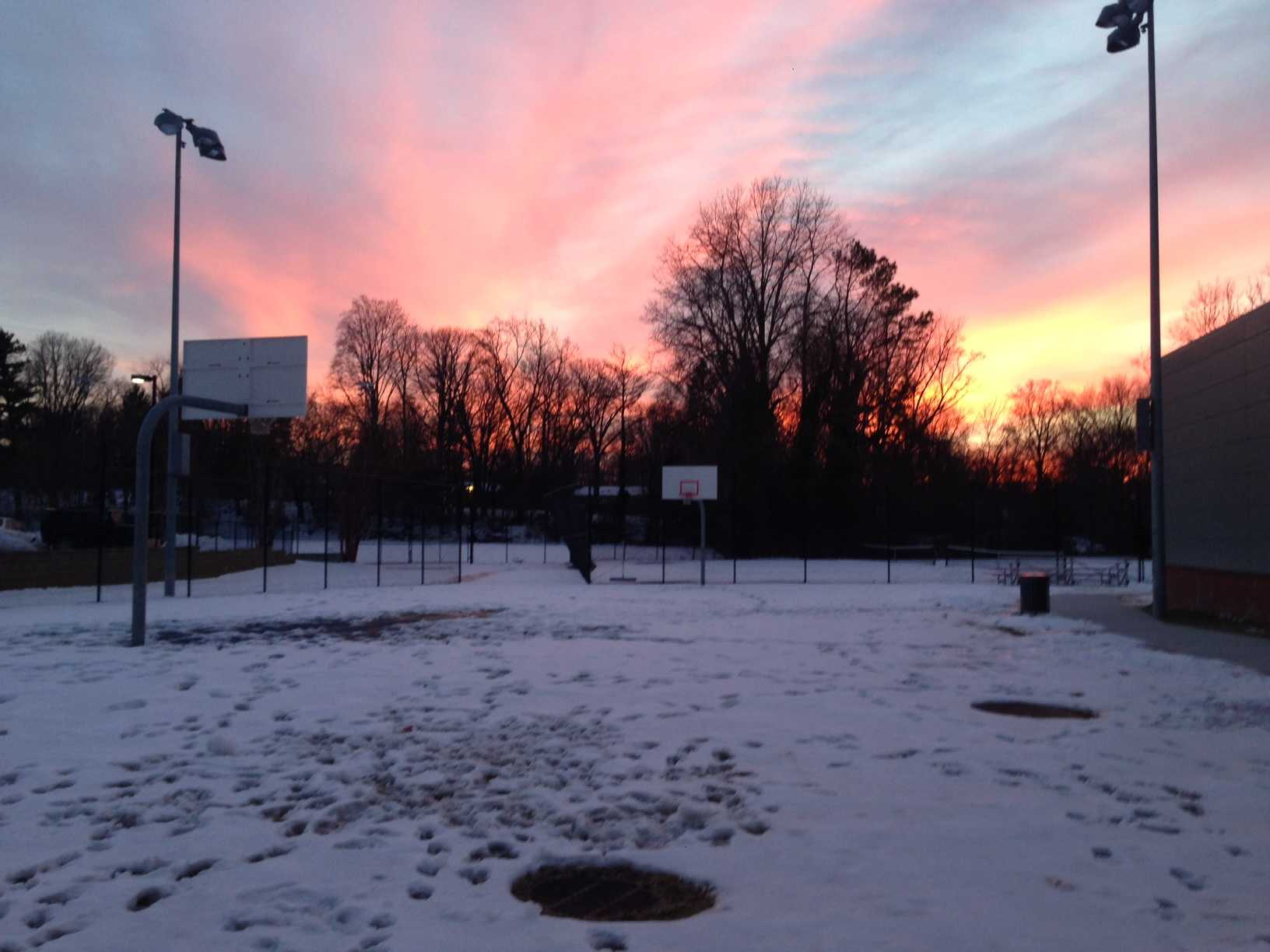 The tennis courts were covered in snow for the first weeks of the season