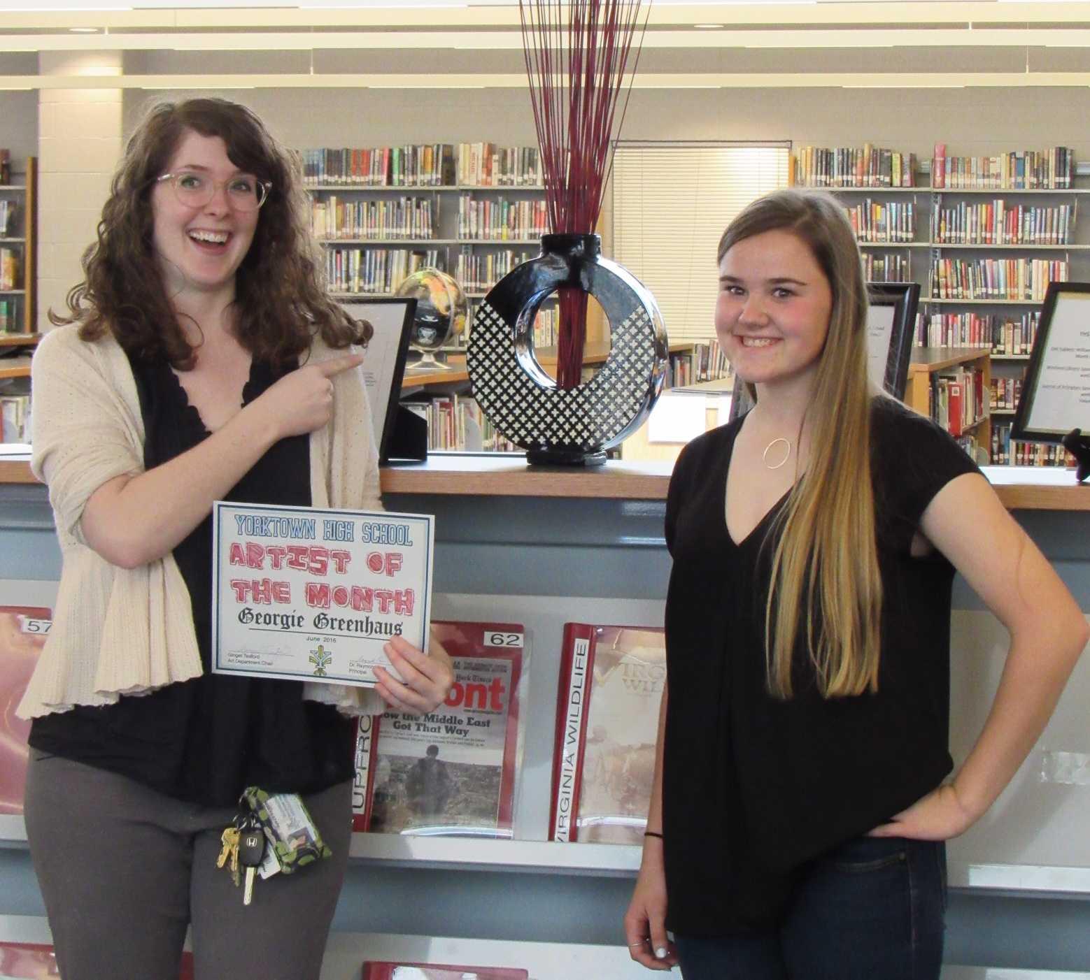 Junior Georgie Greenhaus receiving her Artist of the Month Award