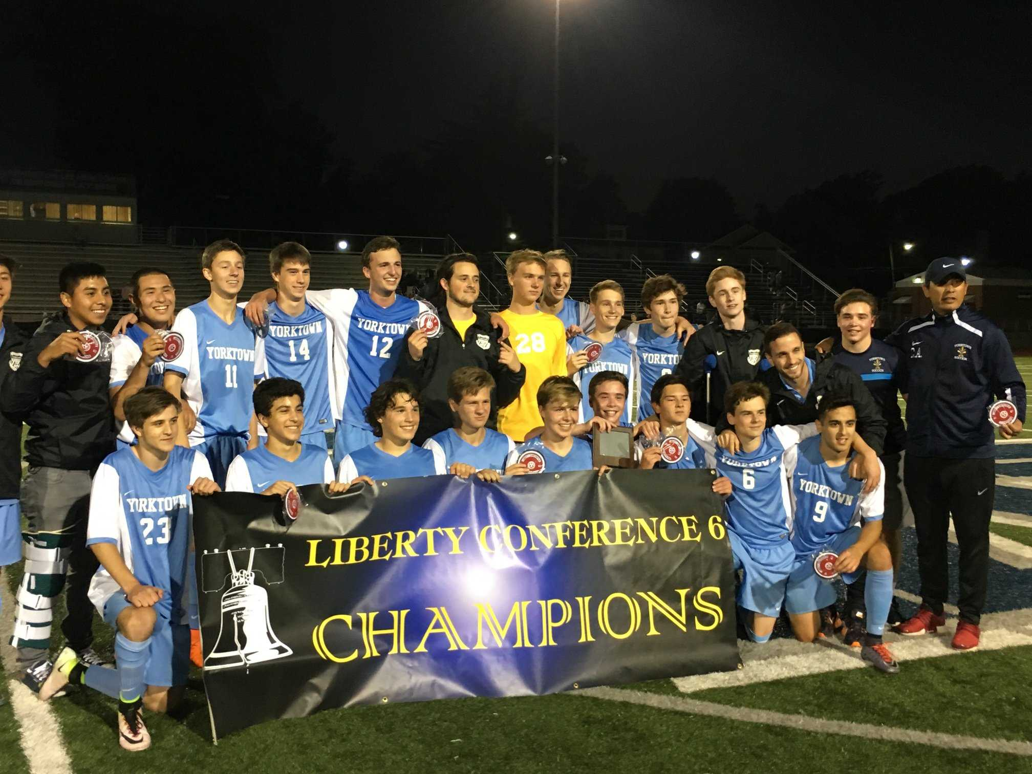 The varsity boys soccer team enjoyed a tremendous season, in which they won a conference championship and advanced to states