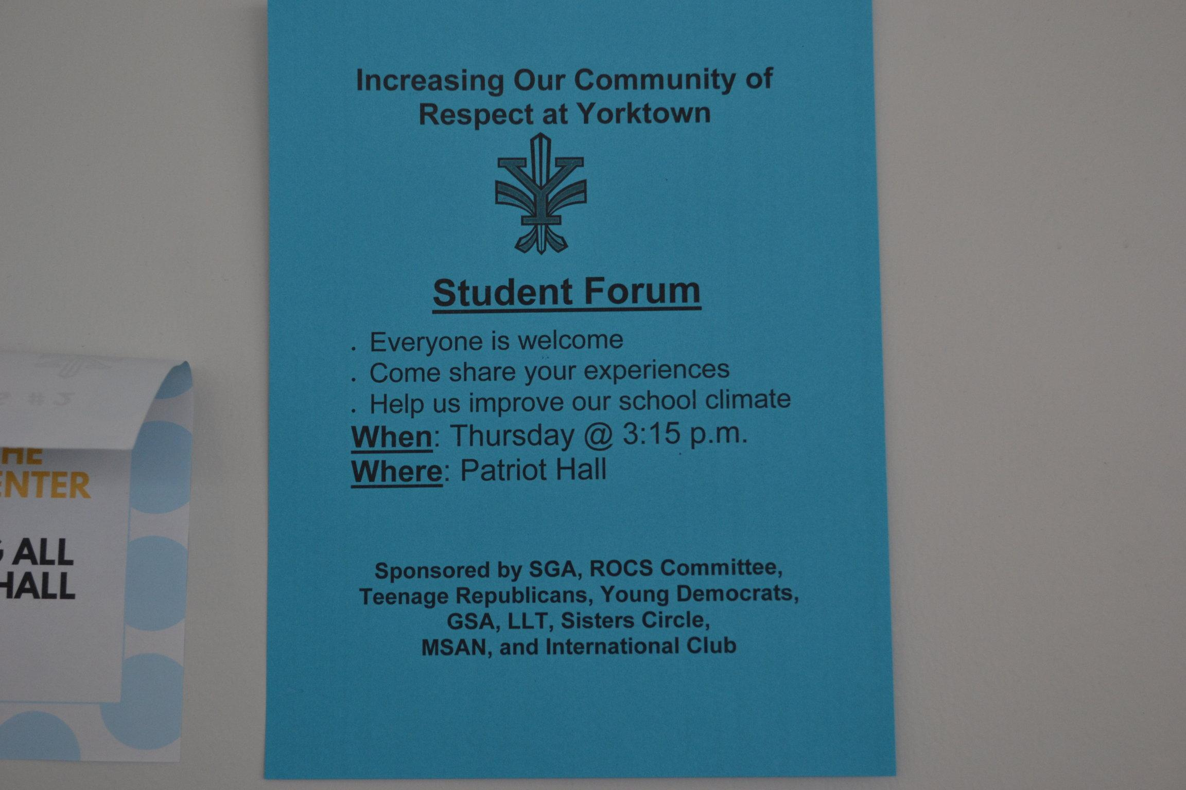 Students were able to sit down and listen to different opinions at the student forum
