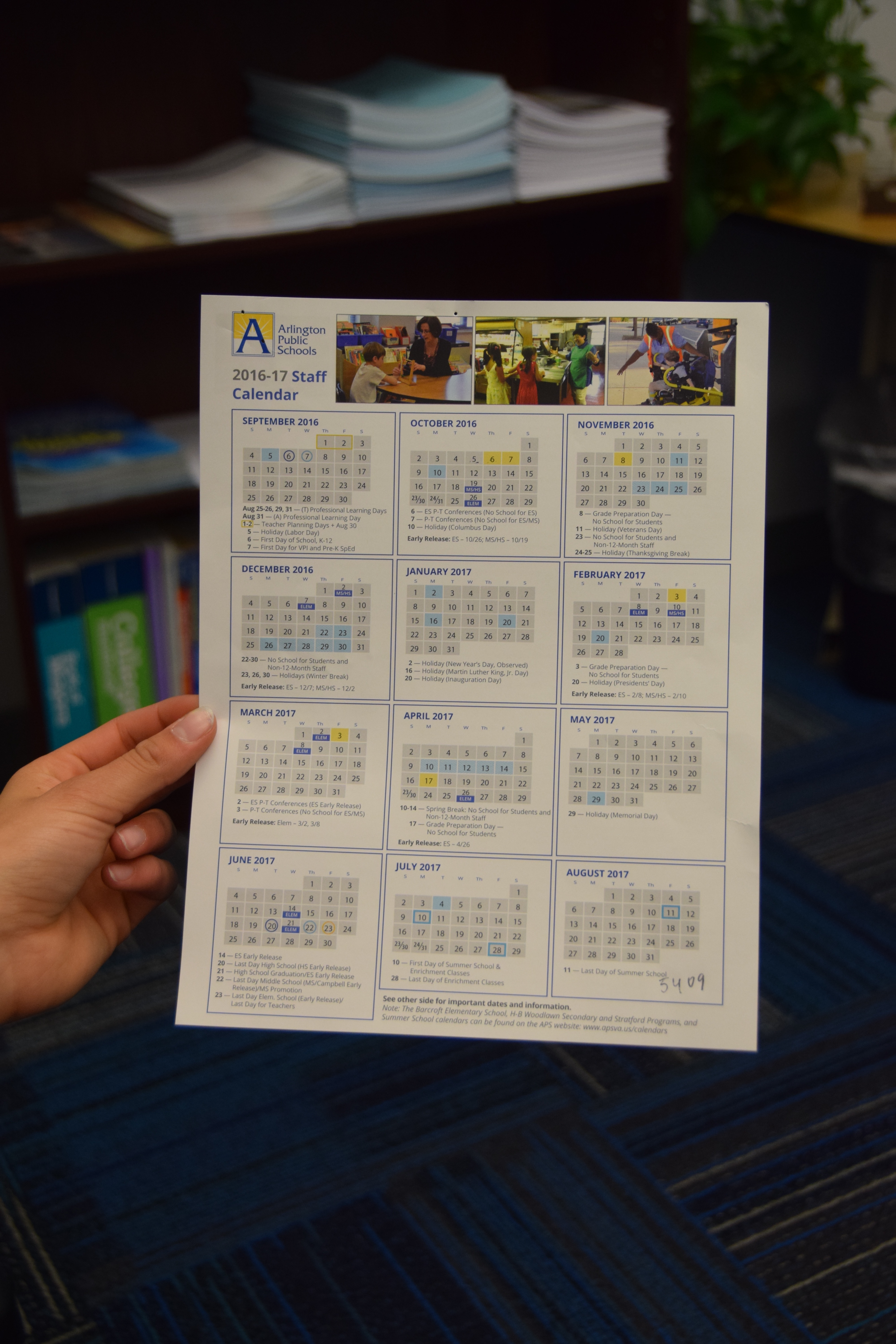 The school calendar shows all the holidays we have