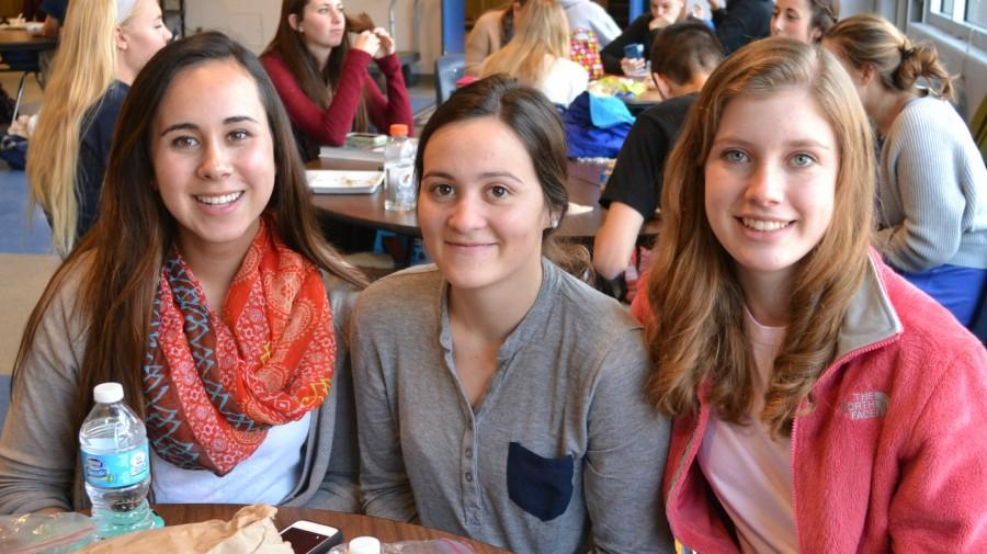 Seniors Isabella Toni, Cece McCarthy and Jordan Proctor find time to relax during lunch.