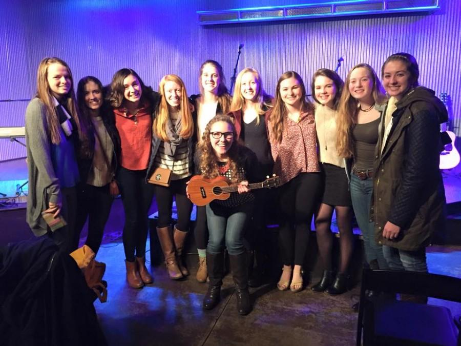 A group of Yorktown seniors support Claire during a show at Ebenezers Coffeehouse in D.C.