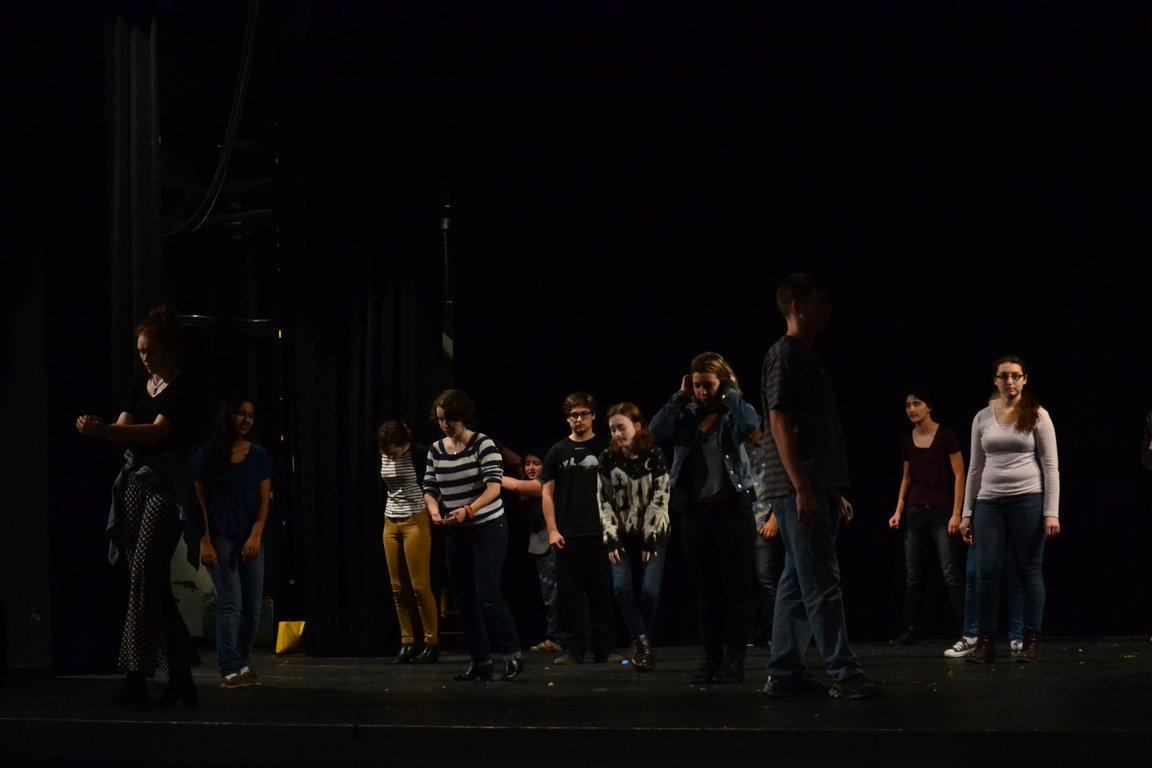 Theater IV students preparing for their one person show