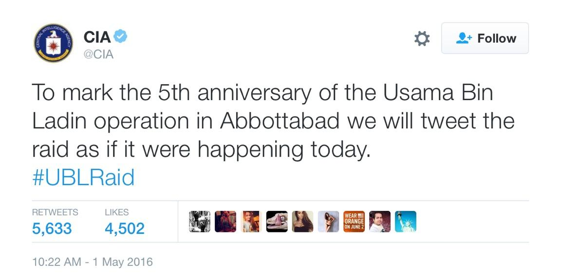 CIA tweet on the anniversary of bin Laden's death