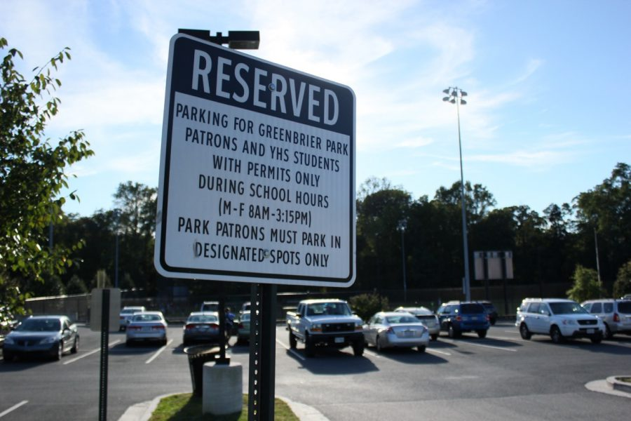 A+sign+outside+the+senior+lot+showing+you+need+a+permit+to+park+there