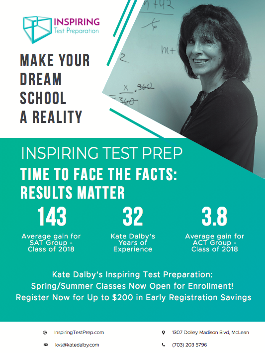 Kate v Dalby   Inspiring Test Preparation, Inc. 1307 Dolley Madison Blvd. suite 4B McLean, VA  22101  Cell/text: 703-203-5796