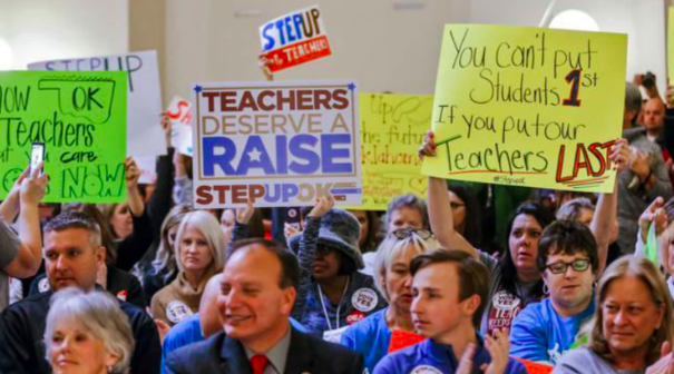 On+April+2%2C+Oklahoma+teachers+protested+the+low+pay+they+receive+and+the+lack+of+funding+that+the+Oklahoma+State+Senate+allocates+to+public+schools.+