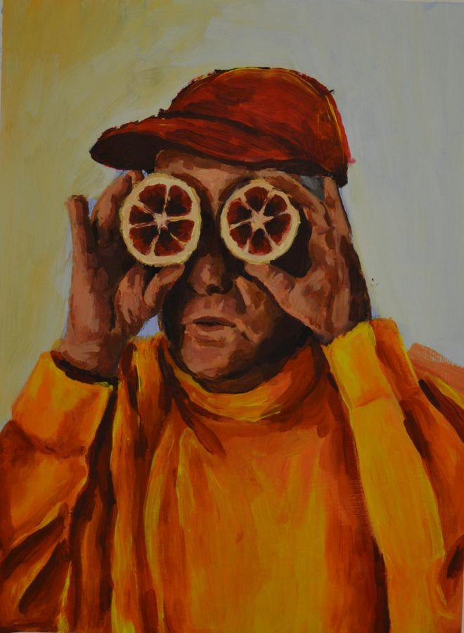 "Tyler Canady's Acrylic painting called ""Citrus Man""."