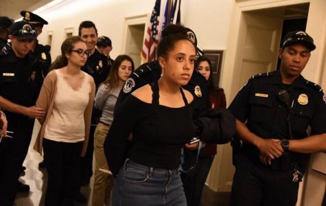 During a demonstration on Wednesday April 18, junior Jordan Joseph and eight other young women conducted a sit-in outside of Speaker of the House Paul Ryan's office in the Capitol.