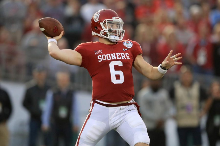 Baker Mayfield playing for the Oklahoma Sooners got drafted first overall to the Cleveland Browns