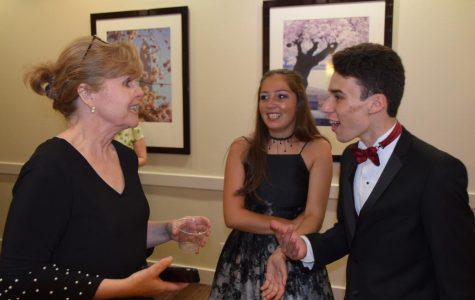 Principal Bridget Loft speaking to students at prom