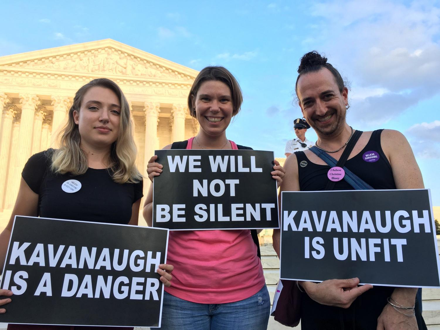 Protestors in front of the Supreme Court at the Stop Kavanaugh Vigil