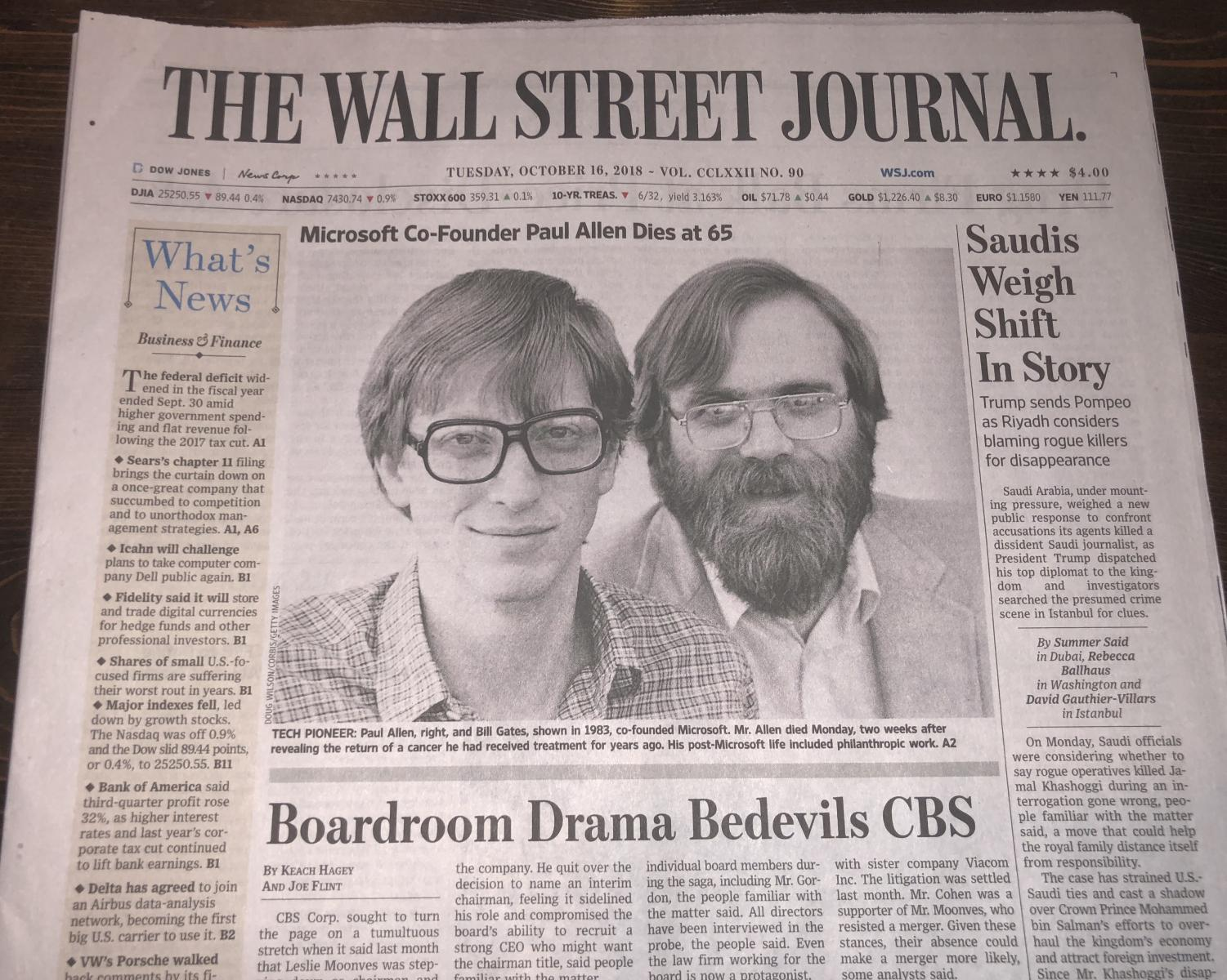 Front page of The Wall Street Journal, October 16th, 2017.