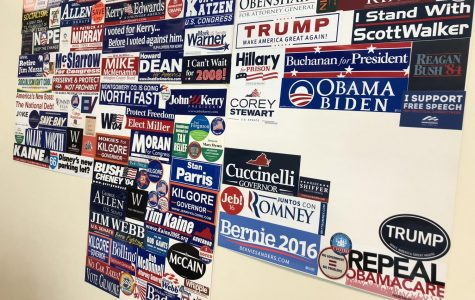 A classroom displays many political bumper stickers.