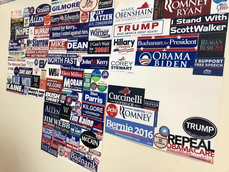 A classroom displays many political bumper stickers.