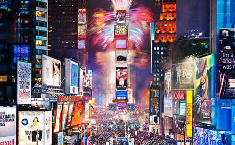 New Years Eve ball drop in New York City