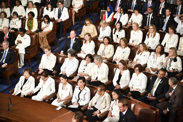 Congresswomen in white at the State of the Union