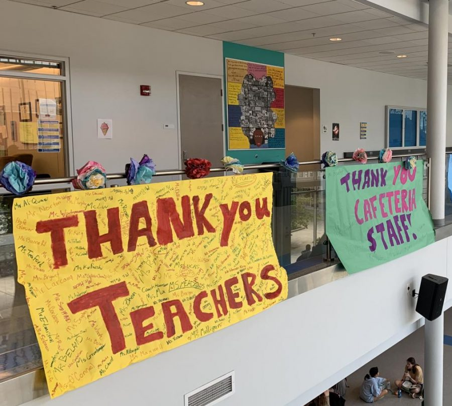 Students decorated the atrium to show appreciation towards staff members.