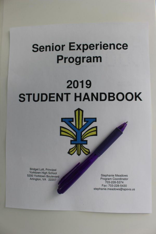 Students+prepare+for+Senior+Experience+using+their+handbooks
