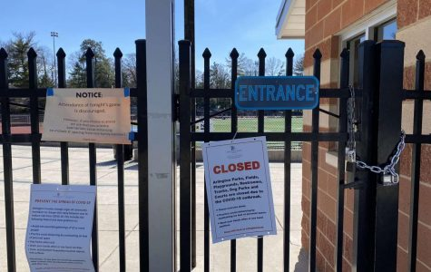 Greenbrier Park's gates are locked after the coronavirus pandemic forced Yorktown's fields and courts to close.